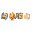 Word rent written with alphabet blocks vector