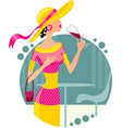 Girl with glass of wine eps10 vector