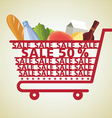Supermarket shopping cart and food vector