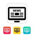 Online news desktop pc newspaper icon vector