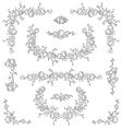 Calligraphic floral elements set vector