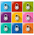 Buttons with locks vector