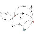 Airline plane flight path vector