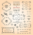 Flourishes frames and hearts set vector
