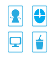 Icon set computer with coffee vector