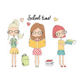 Three young school girls with glasses school bag vector