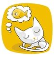 Cute cat dreaming vector