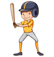 A simple sketch of a male baseball player vector