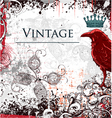 Vintage ilustration with crow vector
