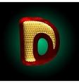 Velvet letter with gold vector