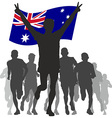 Winner with the australia flag at the finish vector