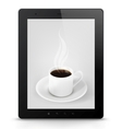 Tablet pc with coffee vector
