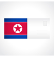Envelope with flag of north korea card vector