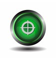 Green glossy round target button vector