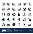 Music and media web icons set vector
