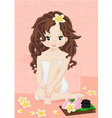 Brunette girl in spa vector
