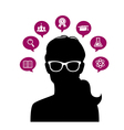 Womans head with education icons vector