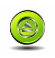 Green glossy round button web eject icon vector