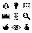 Science education research study web icons set vector