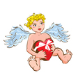 Funny angel with heart gift box - valentines day vector
