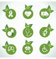 Medical icons and design with green leaf vector