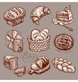 Digital drawing bakery icon set vector