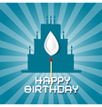 Blue birthday background with cake silhouett vector