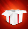 Gift box with bow isolated on red background vector