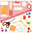 Collection of labels sewing and knitting tools vector