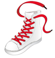 White sneakers with red shoelaces vector