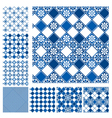 Set of seamless patterns - blue ceramic tiles with vector