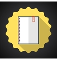 Designer notebook paper sheet flat icon with long vector