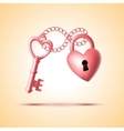 Heart lock with key vector