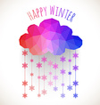 Cloud with snowfall winter background made of vector