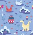 Dinosaurs and ornamental eggs seamless print vector