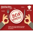 Restaurant promotion concept symbol hands cutlery vector