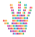 Hand with people background vector