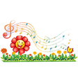 A red flower in the garden with musical notes vector