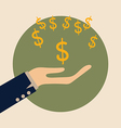 Dollar signs on hand modern flat design con vector