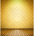 Old abandoned room with yellow wallpaper vector
