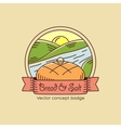 Bread and salt line style badge or logo template vector