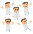 Set of funny cartoon doctor vector