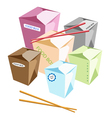 Food boxs and chopsticks on white background vector