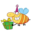 Birthday bee wearing a party hat and flying vector