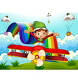 A plane with an elf and a rainbow in the sky with vector
