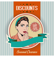 Retro of a beautiful woman and discounts message vector