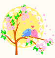 Two birds sitting on the branch vector
