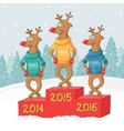 Three deer on a pedestal winter forest landscape vector