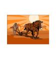 Farmer and horse plowing farm retro vector