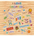 I love shopping setscrapbook setsticker vector